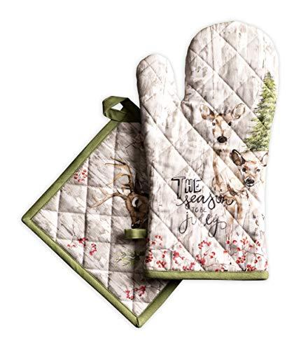 Maison d Hermine Mountain Life zestaw 100% bawełny z rękawicą do piekarnika (19 cm x 33 cm) i łapki do garnków (20 cm x 20 cm) do grillowania | gotowania | pieczenia | kuchenki mikrofalowej | grillowania | Święto Dziękczynienia / Boże Narodzenie