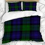 Juegos de Fundas nórdicas British Dark Scottish Plaid Verde Negro Azul Rayas...