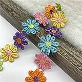 1 yarda 25mm adorno de encaje de flores de margaritas coloridas para tejer cinta bordada de boda DIY suministros de costura de retales hechos a mano manualidades-18