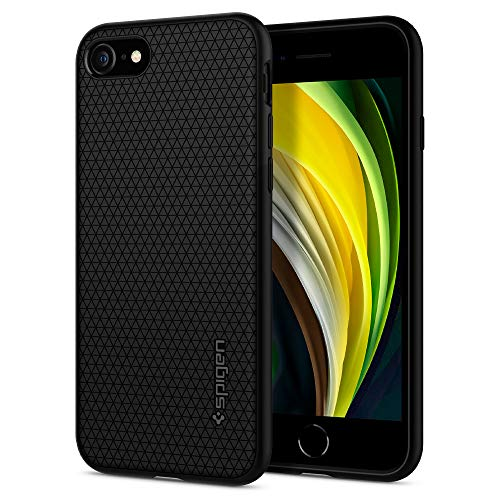 Spigen Funda Liquid Air Compatible con Apple iPhone SE 2020/ iPhone 8/7, Flexión Duradero y Diseño de Fácil Agarre - Negro