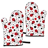zsxaaasdf 2pc Microwave Gloves, Premium Soft Flexible Oven Gloves, Ladybug Heat Resistant Kitchen Gloves, Pot Holders for Kitchen Cooking Baking Grilling Microwave