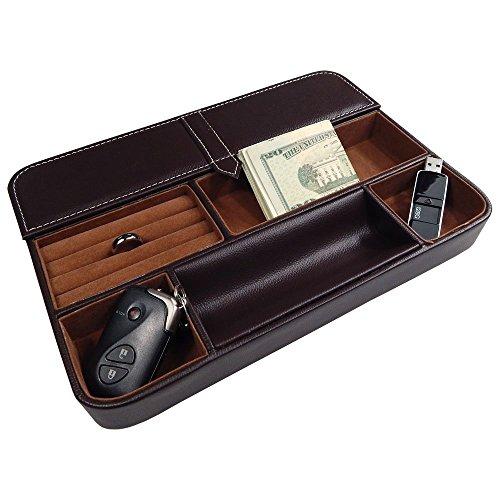 Max Valet bandeja–Caja de 6Compartimiento organizador de cuero sintético para carteras, monedas, llaves, y joyería–29cm
