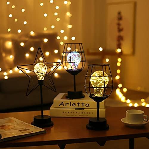 Copa de vino de vino de hierro forjado Decoración de la lámpara de la botella de vino Mini alambre de cobre Modelación de mesa Lámpara de la lámpara de hervidor de la lámpara de hervidor Creativo LED
