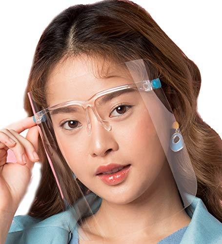 2 Clear Face Shield with Eyeglass Frames for Men, Women, K...