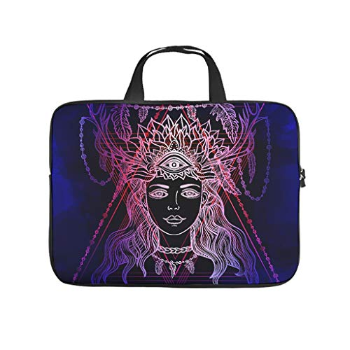 Personalized Tablet Bag Mandala Women Blue Graphic Laptop Computer Sleeve Soft Neoprene Tablet Briefcase for Friends Family White 12inch