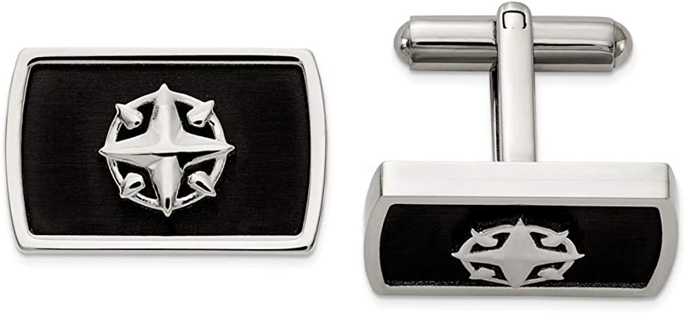 Stainless Steel Brushed and Black IP-Plated Compass Cufflinks - 19mm x 21mm