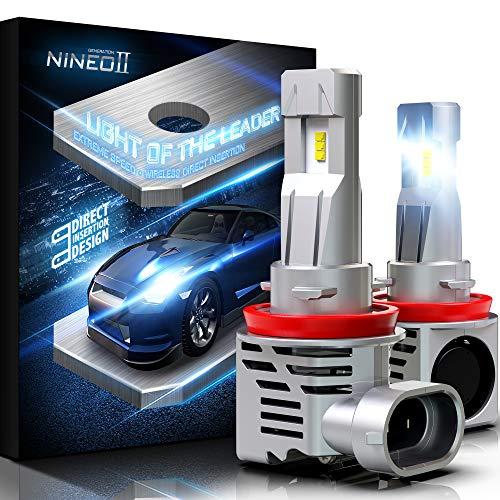 NINEO Wireless H11 LED Faro Lampadine Mini H8 H9 All-in-One Conversione Kit ZES Chip 10000LM 6500K Bianco freddo