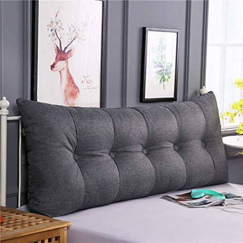 HAOLY Baumwolle und leinen rechteckig Bett Kopf Kissen,Große dreieckige Sofa rückenlehne,Weiche Tasche Tatami Bett Kissen,Abnehmbaren rückenpolster-F 200x20x60cm(79x8x24inch)
