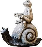 WQQLQX Estatuilla Estatuas de jardín y esculturas al Aire Libre jardín Caracol Estatua Rana Animal Resina artesanía decoración Mano Hechos a Mano Estatua