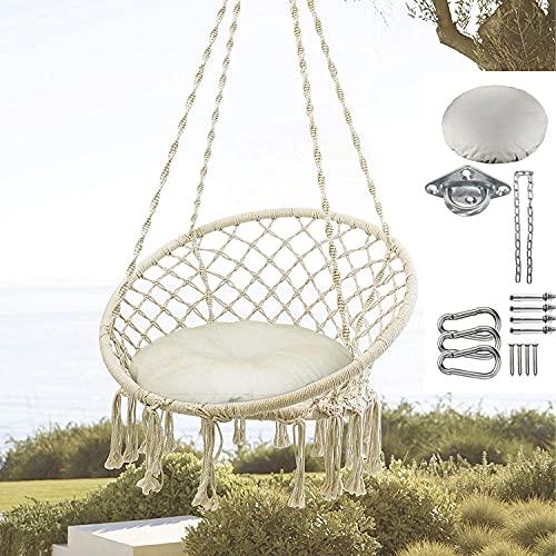 Amaca sospesa con sedia sospesa in tessuto con corda di cotone macramè, con nappe frange, per interni ed esterni, casa, patio, camera da letto, giardino
