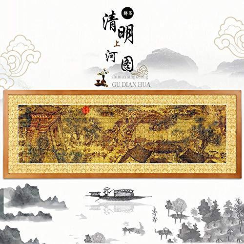 Chinese stijl Qingming Shanghetu 1000 stukjes met frame volwassen puzzel decompressie groot landschap beroemd schilderij creatief cadeau