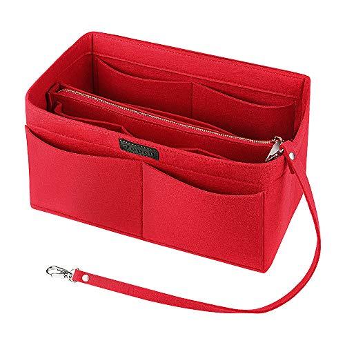 Ropch Taschenorganizer für Handtaschen, Filz Handtasche Organizer Taschen Organisator Kosmetikorganizer mit Reißverschluss-Tasche für Frauen, Rot - L
