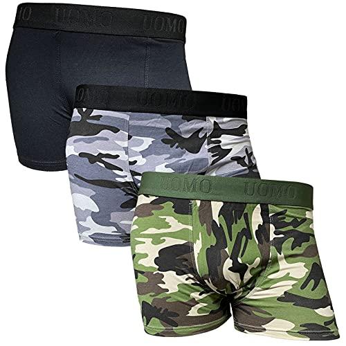 3er Pack Herren Boxershorts Camouflage Baumwolle Shorts Retroshorts Slipboxer M