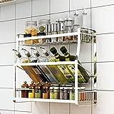 Gflyme Estante de cocina, estante de pared, especiero multifunción de acero inoxidable, diseño oblicuo/ahorra espacio, antideslizante, antioxidante, fuerte capacidad de carga, color plateado