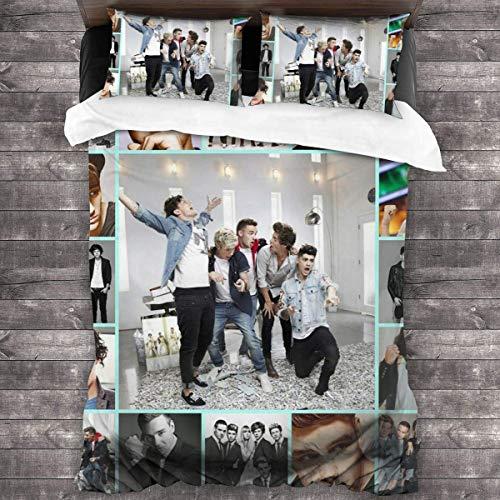 N \ A One Direction - Juego de funda de edredón de 3 piezas, juego de cama de 218 x 177 cm, con 1 juego de edredón y 2 fundas de almohada, suave y cómodo