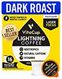 VitaCup Lightning Blend Nootropic Coffee Pods 16ct Intense Energy Focus | Vitamin-Infused Coffee |...