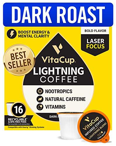 VitaCup Lightning Blend Nootropic Coffee Pods 16ct Intense Energy Focus, Vitamin-Infused Coffee, 2X Caffeine, Vegan, Vitamin B1, B5, B6, B9, B12, D3, Compatible K-Cup Bre...