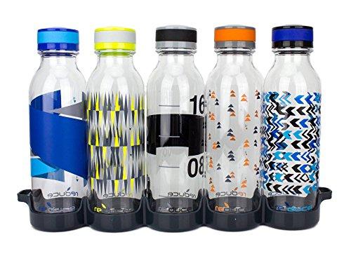 Reduce WaterWeek Reusable Water Bottles, 20oz – 5 Plastic Refillable Water Bottles and Fridge Tray For Your Reusable Water Bottle Set – BPA-Free, Leak Proof Twist Off Cap – Trek