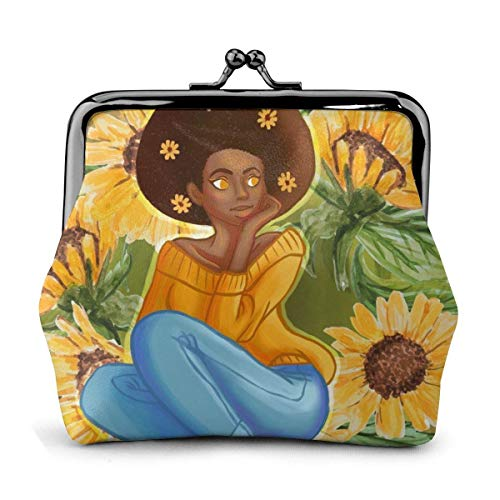 JHGFG Afro Mädchen Sonnenblume Pflanze Blumen Afrikanische Vintage Beutel Mädchen Kiss-Lock Wechsel Geldbörse Geldbörsen Schnalle Leder Münze Geldbörsen Key Woman Gedruckt