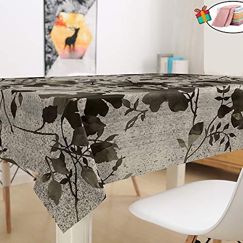 Morbuy Nappe Anti Tache Rectangulaire,Imperméable Étanche à l'huile 3D Imprimé Carrée Couverture de Table Lavable pour Ménage Cuisine Jardin Picnic Exterieur (Noires Feuilles Mortes,140x160cm)