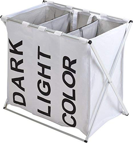 Spetebo Wäschesammler 3 Fächer - weiß - Wäschesortierer Wäschekorb Wäschesack faltbar