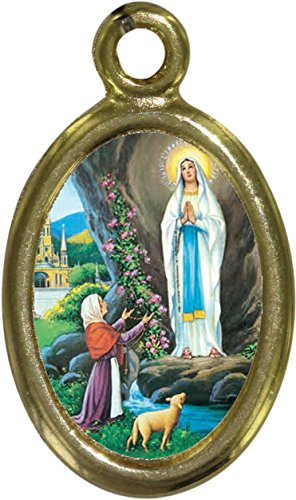 Ferrari & Arrighetti Medalla Virgen de Lourdes de Metal Dorado y Resina - 2,5 cm