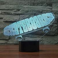 アクリルスケートボード3Dランプ7色変更常夜灯7色ライトLedデスクテーブルランプ雰囲気ナイトランプ家の装飾