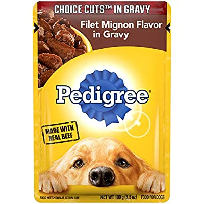 PEDIGREE CHOICE CUTS in Gravy Adult Wet Dog Food Filet Mignon Flavor, (16) 3.5 oz. Pouches