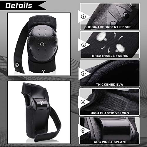 Kids/Youth/Adult Protective Gear Set Knee Pads Elbow Pads Wrist Guards for Skateboarding Rollerblading Cycling Bike BMX Bicycle Scootering 3Pairs