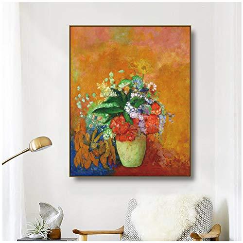 XZRDP Leinwand Kunst Malerei《Flasche Blume》Odilon Redon Kunst Poster Bild Wand Moderne Wohnkultur für Wohnzimmer -20x28 IN No Frame