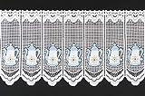 frankgardinen Scheibengardine Kaffee Küche 45 cm hoch weiß blau gelb - Wunschbreite frei wählbar durch gekaufte Menge in 11 cm Schritten - Meterware - Bistrogardine Küche Voile Vorhang