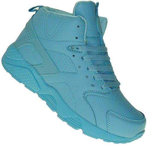 Bootsland High Top Basketballschuhe Skaterschuhe Damen Herren 006, Schuhgröße:37, Farbe:Türkis