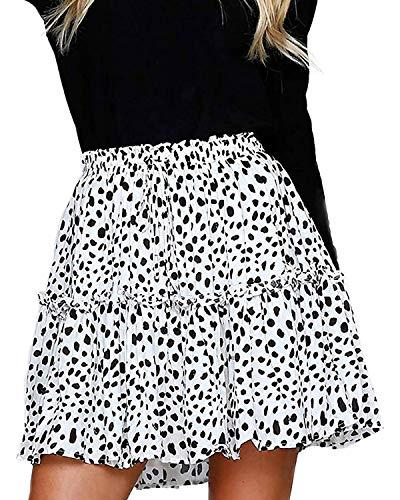 Alelly Women's Summer Cute High Waist Ruffle Skirt Floral Print Swing Beach Mini Skirt
