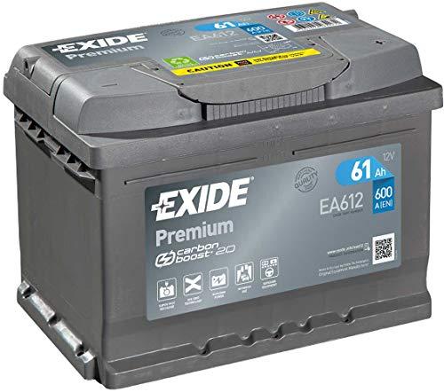 EXIDE EA612 PREMIUM CARBON BOOST 61 Ah 600 A AUTOBATTERIE PKW KFZ BATTERIE STARTERBATTERIE BATTERIE ERSETZT 55-AH 56-AH 58-AH