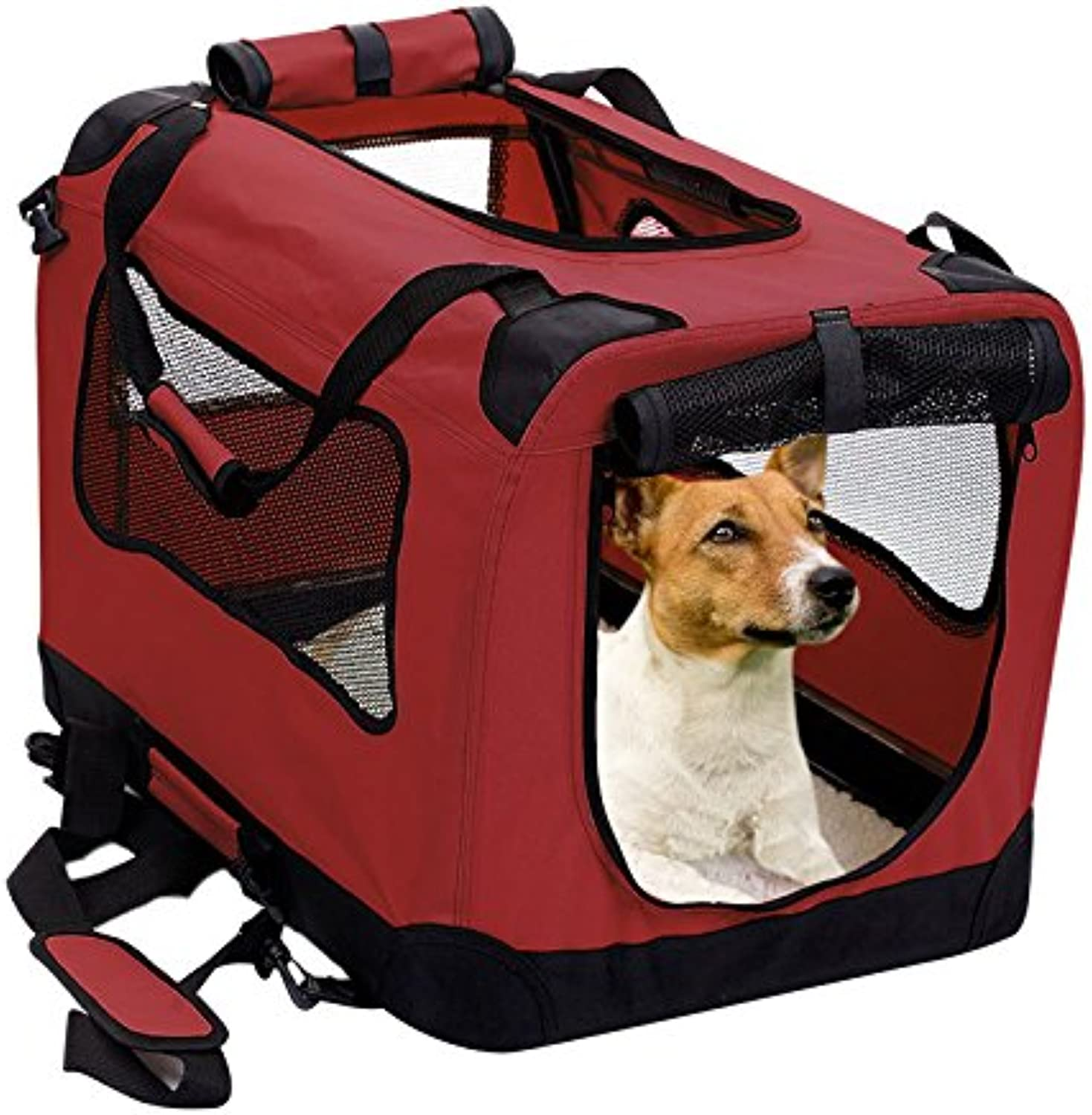 2PET Foldable Dog Crate  Soft, Easy to Fold & Carry Dog Crate for Indoor & Outdoor Use  Comfy Dog Home & Dog Travel Crate  Strong Steel Frame, Washable Fabric Cover, Frontal Zipper Medium Red