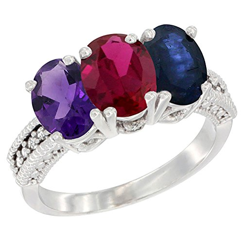 Silver City Jewelry 10K White Gold Natural Amethyst, Enhanced Ruby & Natural Blue Sapphire Ring 3-Stone Oval 7x5 mm Diamond Accent, Sizes 5-10