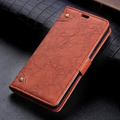 Phone Funda de Cuero con Hebilla de Cobre Nappa Texture Horizontal Flip for Xiaomi Mi Mix 3 5G, con Soporte y Ranuras for Tarjetas y Billetera (Negro) Cómodo y Conveniente (Color : Brown)