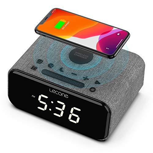 Lecone Caricatore Wireless Altoparlante Bluetooth sveglia, suono stereo, radio FM, ricarica veloce wireless 10W per Samsung Galaxy, caricatore wireless Qi con ricarica da 7,5W per iPhone
