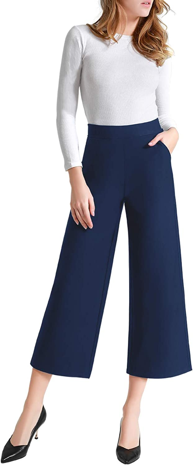Tsful Womens Casual Loose Wide Leg Pants Pull On Dress Pant