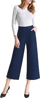 Tsful سروال الساق واسعة الخصر للنساء الصيف الأعمال عارضة المحاصيل اللباس السراويل تمتد سحب على كابريس