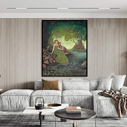 Dames in zee canvasdruk en poster Pagan Medieval Renaissance Goddess Mythology canvas frameless Painting