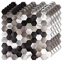 "HomeyStyle 12""x12"" Hexagon Peel and Stick Tile Metal Backsplash for Kitchen Bathroom Stove Walls Self-Adhesive Brushed Aluminum Matted Surface Metal Mosaic Tiles 3D Wall Sticker"