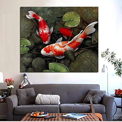 Impresión de cartel 80x80 cm sin marco chino Koi Fish Lotus Feng Shui Animal paisaje pintura cartel pared arte imagen sala de estar decoración del hogar