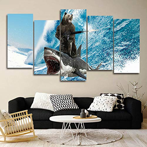 5 Panels Modern Giclee Prints Artwork Bear and Shark Surfing Machine Gun Beach Theme Blue Waves Pictures Photo Paintings Print on Canvas Wall Art for Home Decor Stretched and Framed Ready to Hang