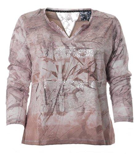 No Secret Damen Langrm Tunika Shirt warm gefüttert doppellagig mit V-Ausschnitt Braun Beige Pailletten, Größe:48