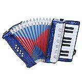 iFCOW Acordeón infantil 17 teclas 8 Bass Piano acordeón Celluloid Edging Instrumento musical para principiantes estudiantes azul marino