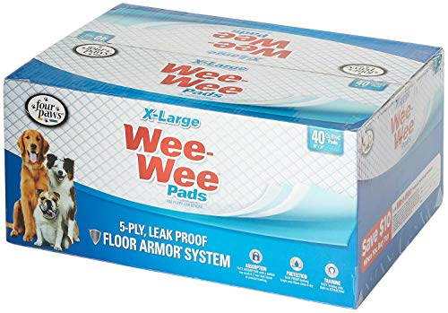 Four Paws Wee Wee Pads for Dogs, X-Large Pad 28x34 Inch, 40 Count, 4 Pack