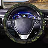 AFPANQZ Camouflage Pattern Automotive Steering Wheel Covers Neoprene Comfortable Keep Warm Odorless Stretch-on Fabric Breathable Universal 14 to 15 inch Dark Green for Women Mens