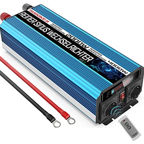 SUDOKEJI Inversor 12v 220v Onda Pura 2000w Convertidor DC 12V a AC 230V con Pantalla LCD & Mando a Distancia Inversor de Corriente con 2 Toma de AC & 1 Puertos USB para Coche de Camión