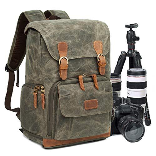 UBaymax Kamerarucksack Kameratasche, Wasserdicht Canvas Leinenstoff und Echt-Leder DSLR Rucksack,...
